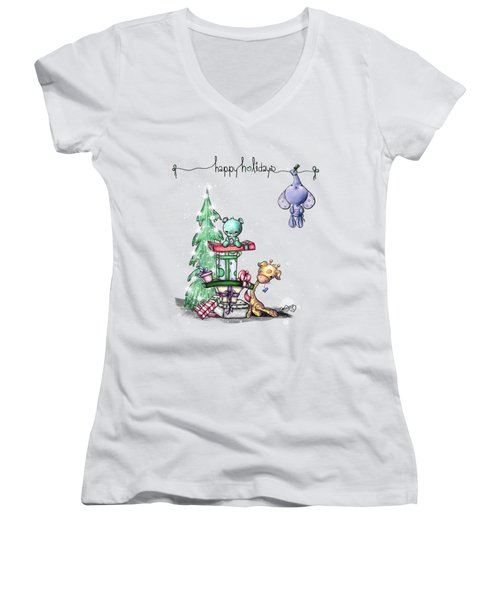 Women's V-Neck T-Shirt (Junior Cut) featuring the painting Hanging Around For The Holidays by Lizzy Love