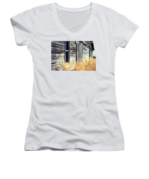 Women's V-Neck T-Shirt (Junior Cut) featuring the photograph Hanging By A Bolt by Julie Hamilton