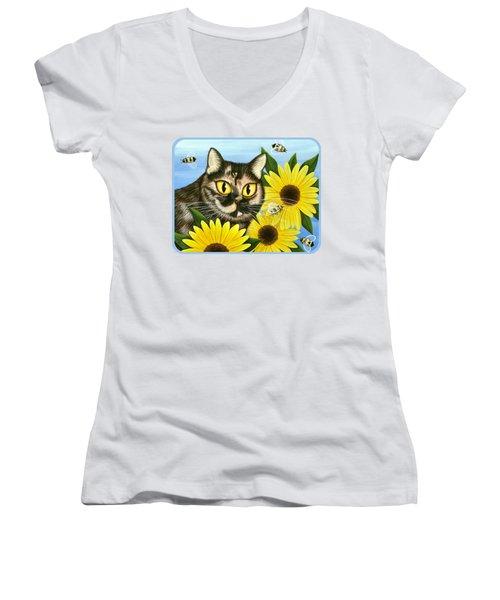 Hannah Tortoiseshell Cat Sunflowers Women's V-Neck T-Shirt (Junior Cut) by Carrie Hawks