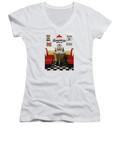 Women's V-Neck T-Shirt (Junior Cut) featuring the painting Hansen's Drive-in by Ferrel Cordle