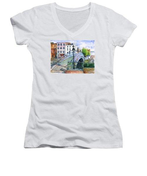 Ha'penny Bridge Dublin Women's V-Neck T-Shirt (Junior Cut) by John D Benson
