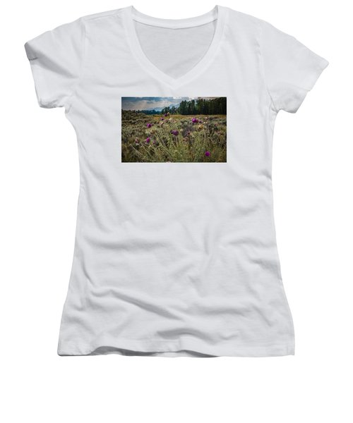 Happier In The Mountains Women's V-Neck (Athletic Fit)