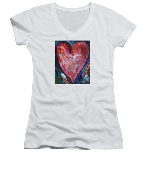 Happiness Women's V-Neck T-Shirt (Junior Cut) by Diana Bursztein
