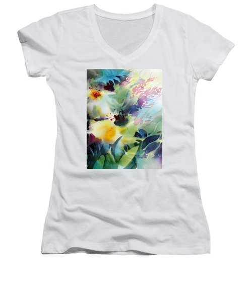 Happy Dance Women's V-Neck T-Shirt (Junior Cut) by Rae Andrews