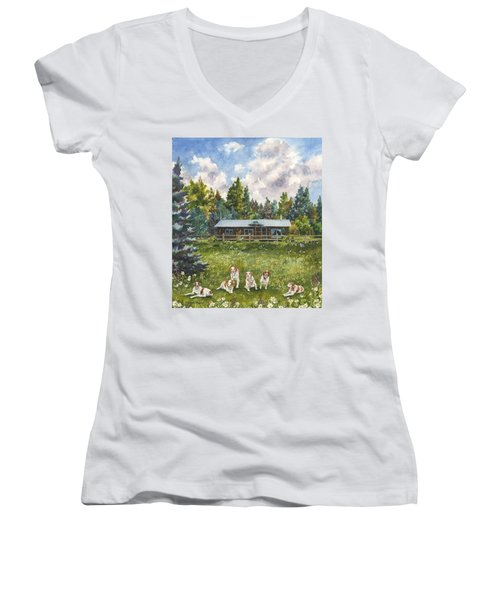 Happy Dogs Women's V-Neck T-Shirt (Junior Cut) by Anne Gifford