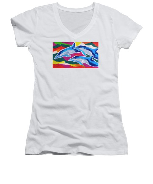 Women's V-Neck T-Shirt (Junior Cut) featuring the painting Happy Dolphin Dance by Stephen Anderson
