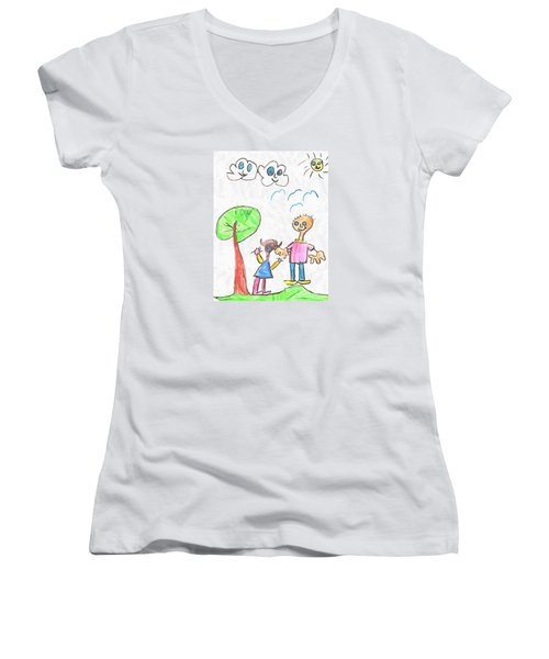 Happy Faces Women's V-Neck T-Shirt (Junior Cut)