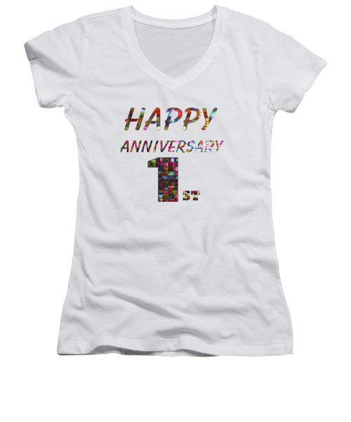 Happy First 1st Anniversary Celebrations Design On Greeting Cards T-shirts Pillows Curtains Phone   Women's V-Neck T-Shirt (Junior Cut) by Navin Joshi
