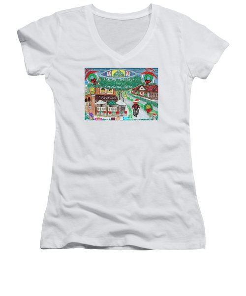 Women's V-Neck T-Shirt (Junior Cut) featuring the painting Happy Holidays From Loveland, Ohio by Diane Pape