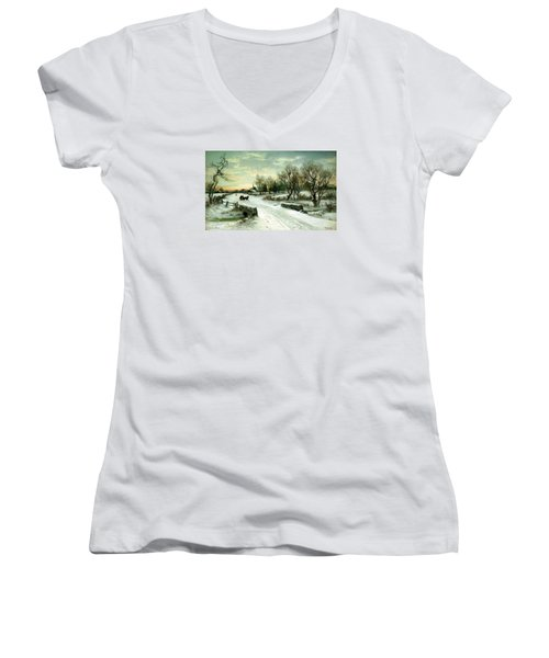 Happy Holidays Women's V-Neck T-Shirt (Junior Cut) by Travel Pics