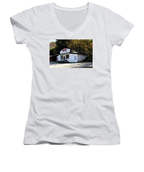 Happy Motoring Women's V-Neck T-Shirt (Junior Cut) by Dale R Carlson