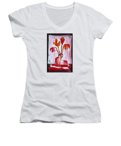 Happy Poppy Women's V-Neck T-Shirt (Junior Cut) by DAKRI Sinclair