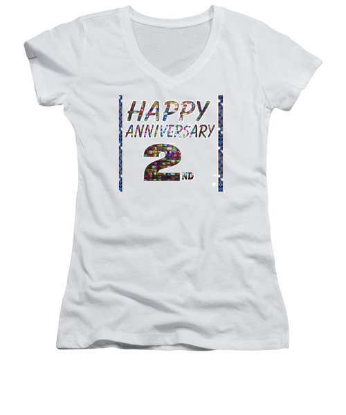 Happy Second 2nd Anniversary Celebrations Design On Greeting Cards T-shirts Pillows Curtains Phone   Women's V-Neck