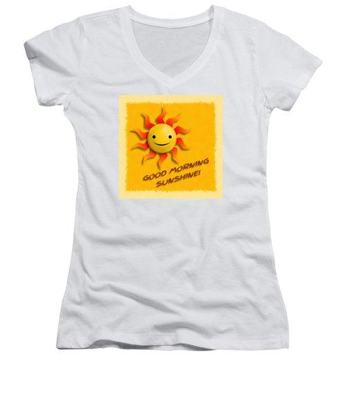 Happy Sun Face Women's V-Neck T-Shirt (Junior Cut) by John Wills