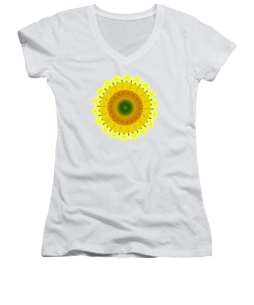 Happy Sunflower Mandala By Kaye Menner Women's V-Neck (Athletic Fit)