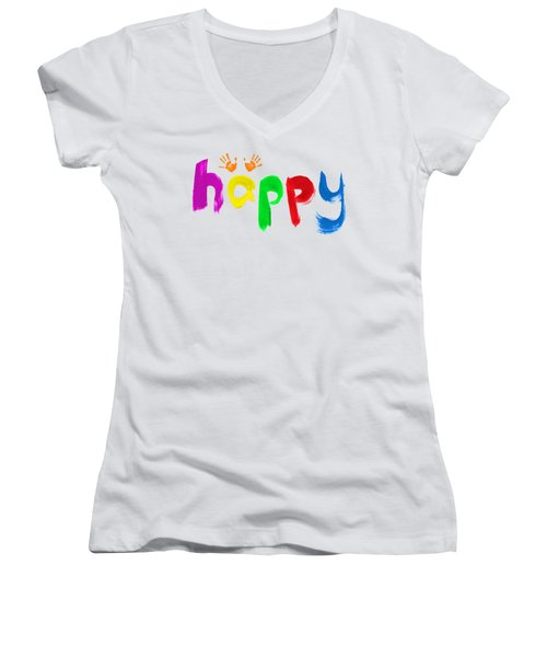 Happy Women's V-Neck T-Shirt (Junior Cut) by Tim Gainey