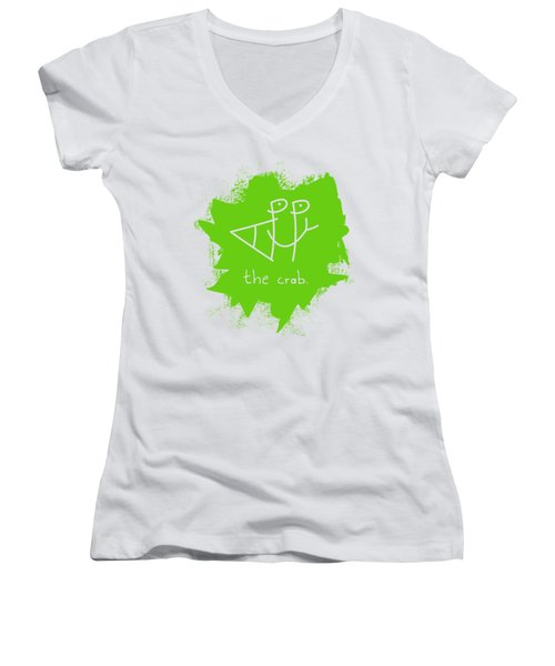 Happy The Crab - Green Women's V-Neck (Athletic Fit)