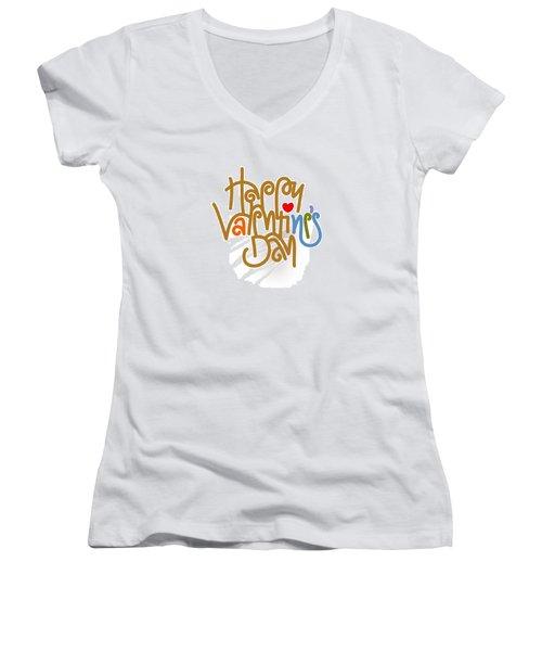 Happy Valentine's Day Poster Women's V-Neck