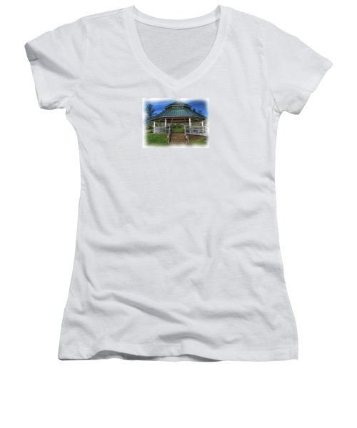 Women's V-Neck T-Shirt (Junior Cut) featuring the photograph Happy Valley Gazebo Art  by Thom Zehrfeld