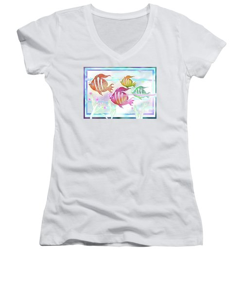 Happiness Is A Clean Ocean  Women's V-Neck (Athletic Fit)