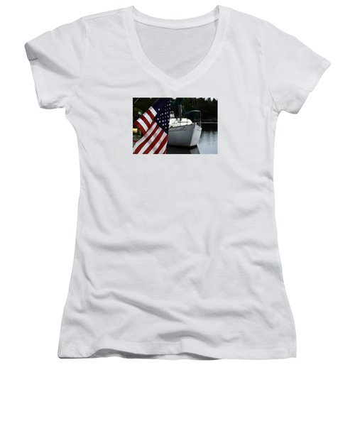 Harbor Women's V-Neck T-Shirt (Junior Cut) by Allen Beilschmidt