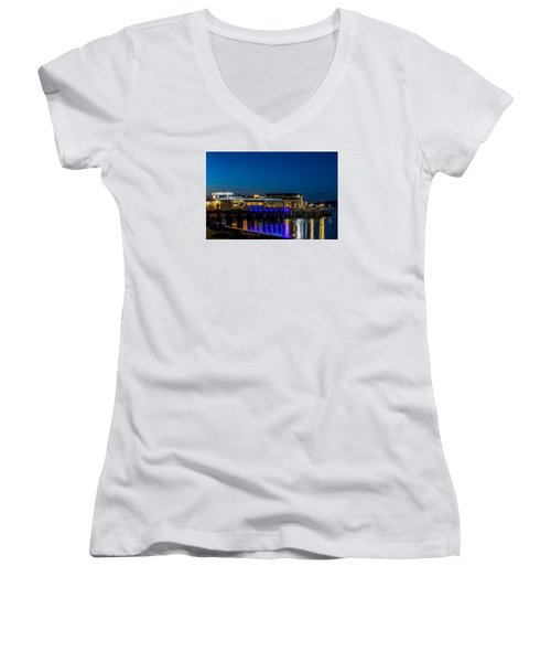 Harbor Lights During Blue Hour Women's V-Neck