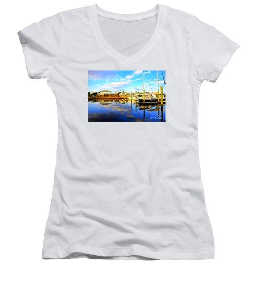 Harbour Reflections Women's V-Neck T-Shirt (Junior Cut) by Shelia Kempf