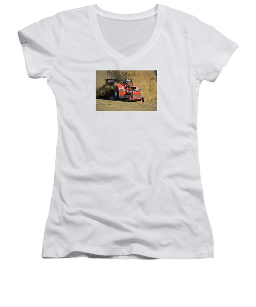 Hard Drive Pulling Tractor Women's V-Neck T-Shirt (Junior Cut) by Mike Martin