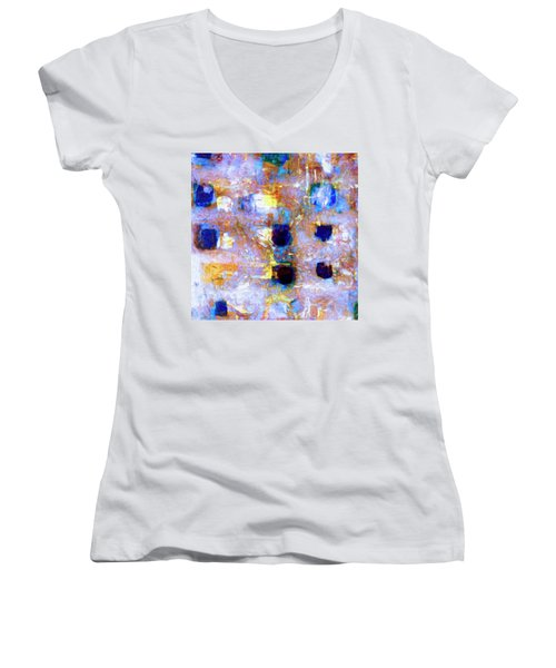 Women's V-Neck T-Shirt (Junior Cut) featuring the painting Hard Eight by Dominic Piperata