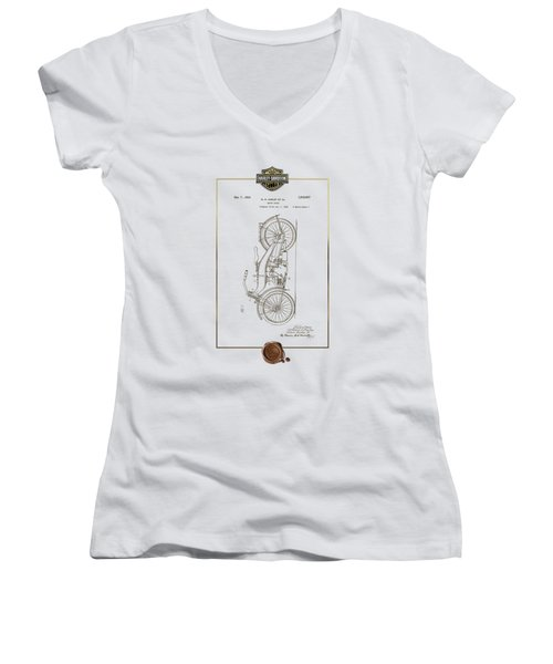 Women's V-Neck T-Shirt (Junior Cut) featuring the digital art Harley-davidson 1924 Vintage Patent Document With 3d Badge by Serge Averbukh