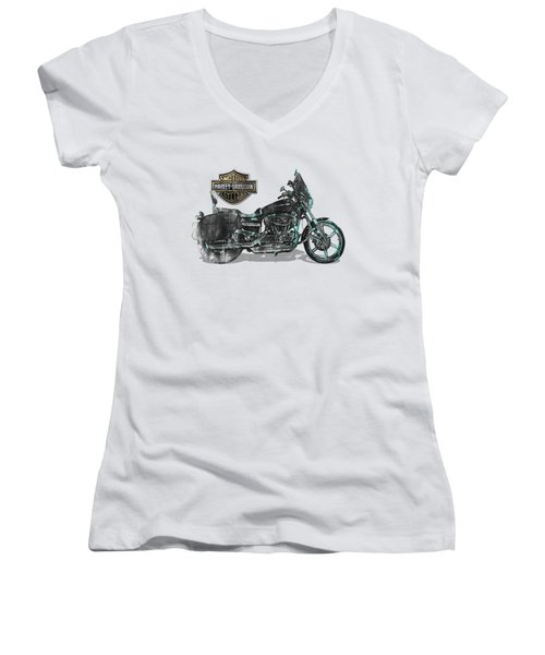 Women's V-Neck T-Shirt (Junior Cut) featuring the digital art Harley-davidson Motorcycle With 3d Badge Over Vintage Patent by Serge Averbukh