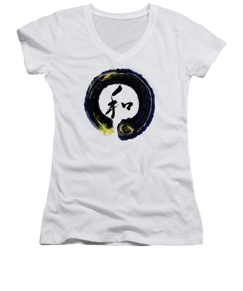 Harmony - Peace With Enso Women's V-Neck T-Shirt