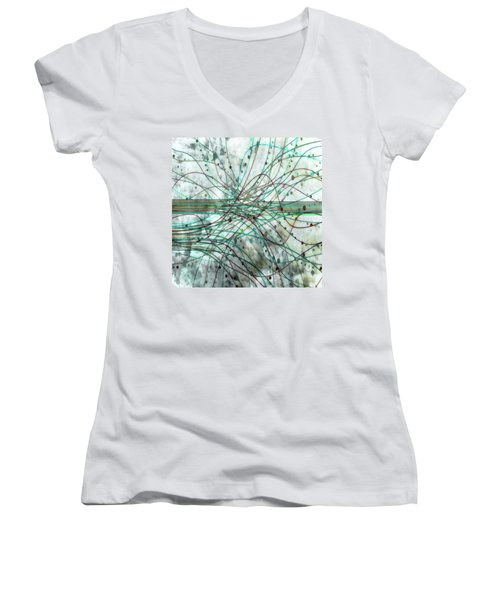 Women's V-Neck T-Shirt (Junior Cut) featuring the digital art Harnessing Energy 3 by Angelina Vick