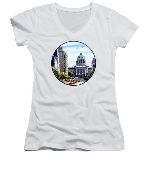 Harrisburg Pa - Capitol Building Seen From State Street Women's V-Neck