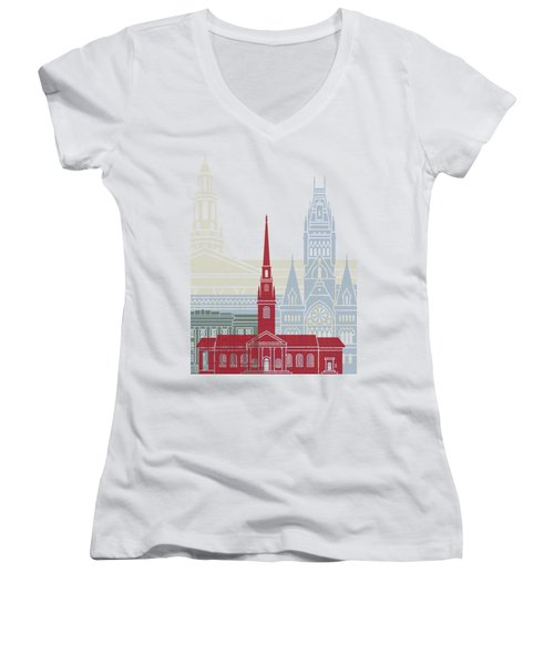 Harvard Skyline Poster Women's V-Neck T-Shirt