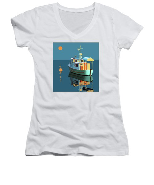 Women's V-Neck T-Shirt (Junior Cut) featuring the painting Harvest Moon by Gary Giacomelli