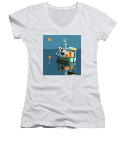 Harvest Moon Women's V-Neck T-Shirt (Junior Cut) by Gary Giacomelli
