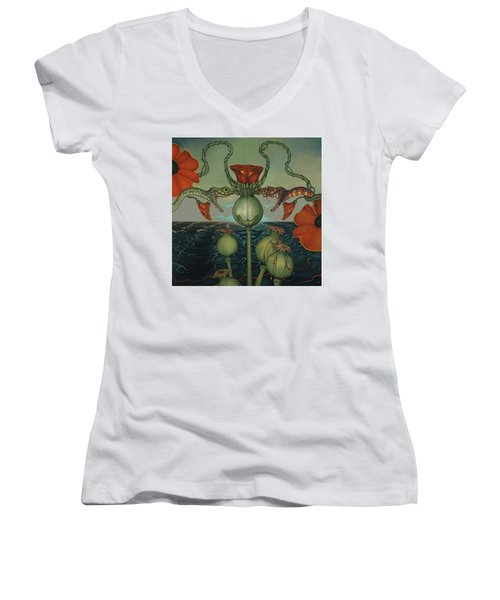 Women's V-Neck T-Shirt (Junior Cut) featuring the painting Harvesters by Andrew Batcheller