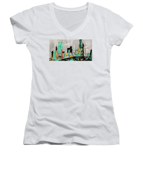 Women's V-Neck T-Shirt (Junior Cut) featuring the painting Hashtag City by Carmen Guedez