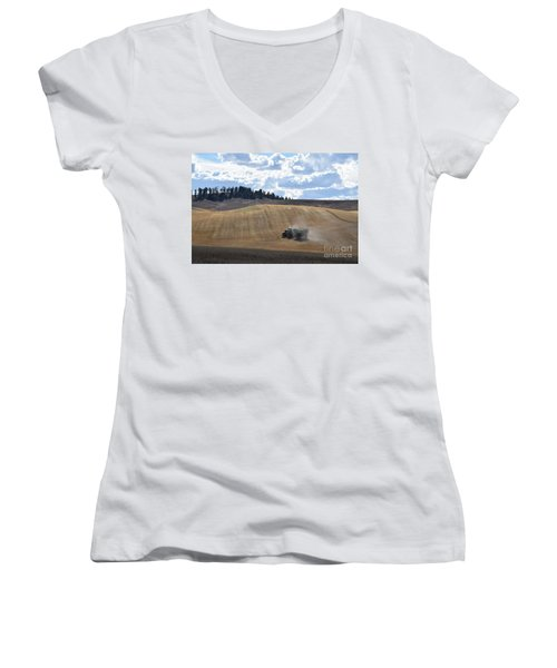 Hauling The Harvest From The Fields. Women's V-Neck (Athletic Fit)