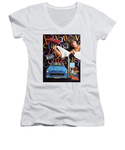 Havana City Women's V-Neck T-Shirt (Junior Cut) by Jorge L Martinez Camilleri