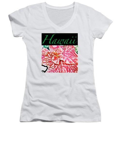 Hawaii Blush T-shirt Women's V-Neck T-Shirt (Junior Cut) by James Temple