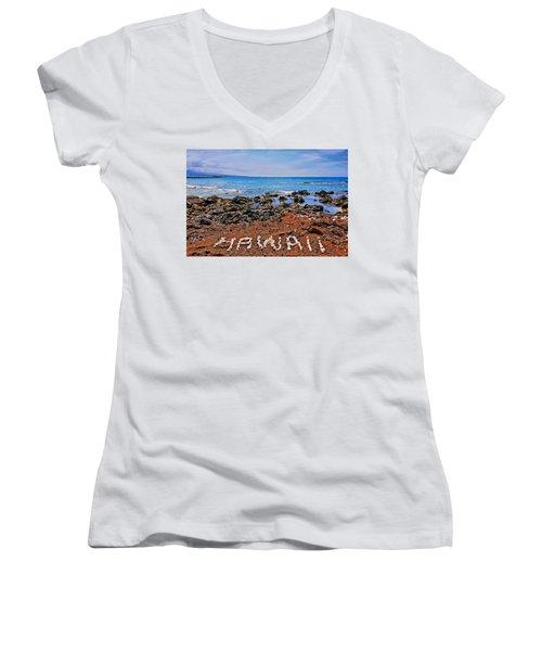 Women's V-Neck T-Shirt (Junior Cut) featuring the photograph Hawaii by DJ Florek