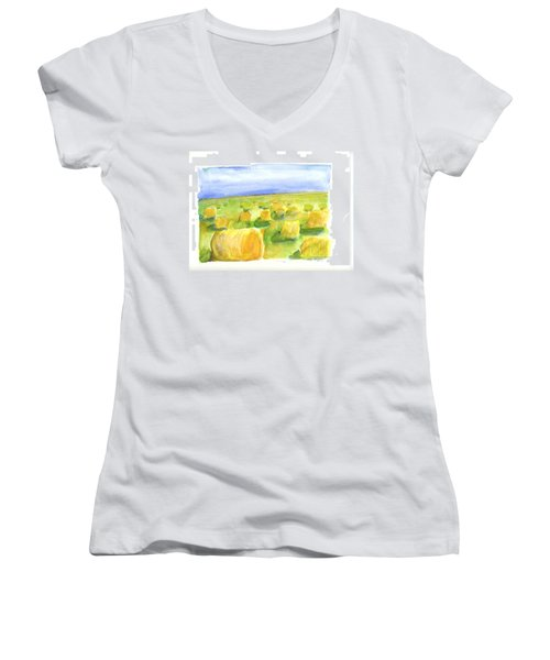 Hay Bales Women's V-Neck (Athletic Fit)