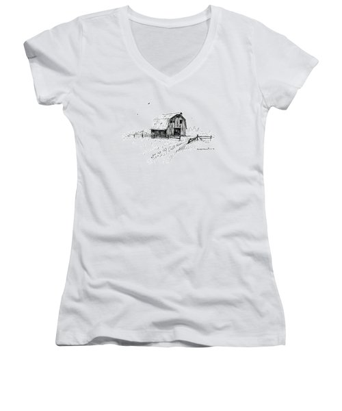 Hay Barn With Broken Gate Women's V-Neck (Athletic Fit)