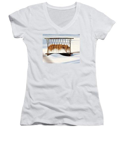 Hay Feeder In Winter Women's V-Neck T-Shirt