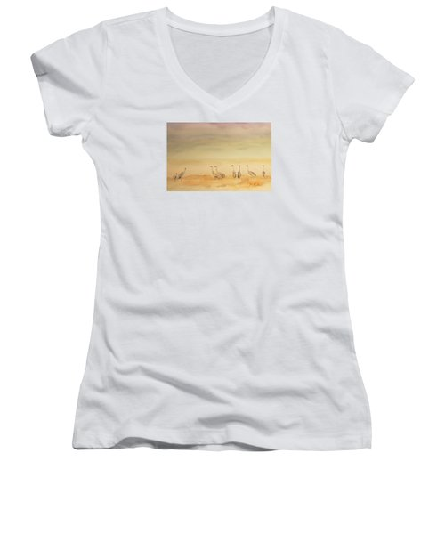 Hazy Days Cranes Women's V-Neck