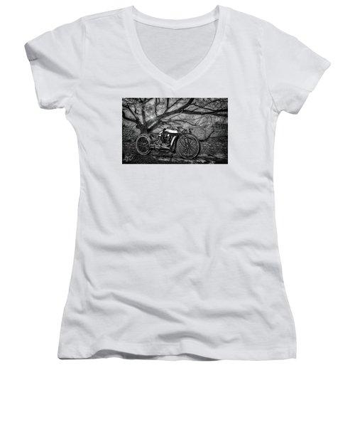 Women's V-Neck T-Shirt (Junior Cut) featuring the photograph Hd Cafe Racer  by Louis Ferreira