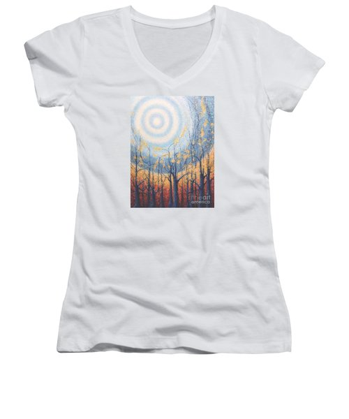 Women's V-Neck T-Shirt (Junior Cut) featuring the painting He Lights The Way In The Darkness by Holly Carmichael