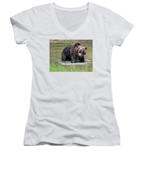 He Speaks Women's V-Neck (Athletic Fit)